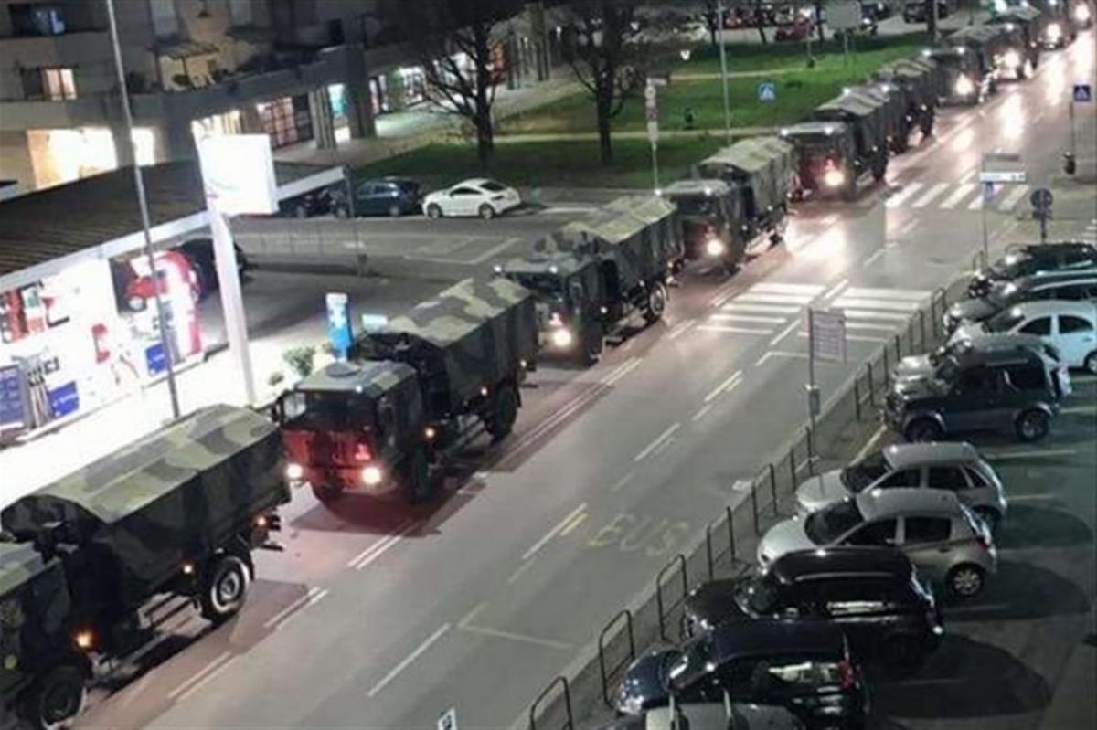 bergamo bare su camion militari