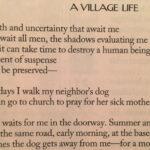 Leggere. Una poesia di Louise Glück, A Village Life